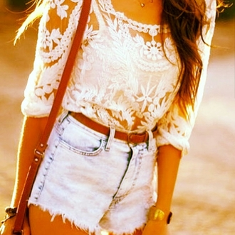 top t-shirt shirt lace shirt lace high waisted bikini high waisted shorts belt outfit cute summer outfits style clothes blouse lace top white top country style girly white crop tops shorts white t-shirt long sleeves beautiful annemerel blogger