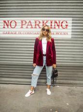 jacket,red blazer,tumblr,blazer,velvet,velvet blazer,denim,jeans,blue jeans,cropped jeans,ripped jeans,sneakers,white sneakers,sunglasses