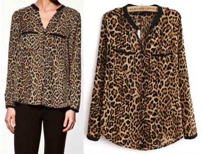 Leopard Print Double Pocket Shirt