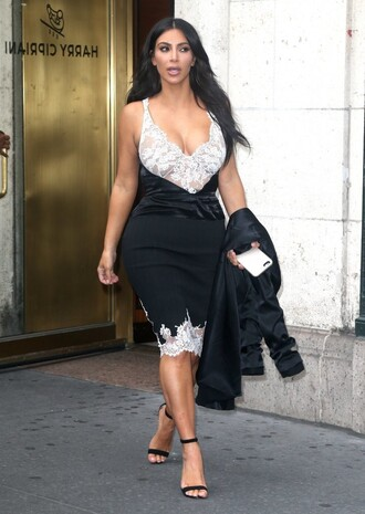 dress lace dress kim kardashian sandals plunge dress plunge neckline midi dress lace cami camisole kardashians keeping up with the kardashians shoes sandal heels black and white