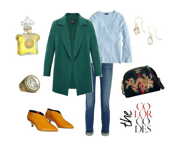 unefemme blogger shoes jewels jacket sweater jeans bag winter outfits fall outfits green coat yellow shoes gucci bag blue sweater