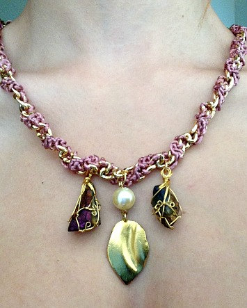 Pink crochet/chain statement collar necklace with titanium quartz and feather charms