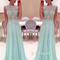 Custom made light green a-line chiffon long prom dresses, formal dresses - 24prom