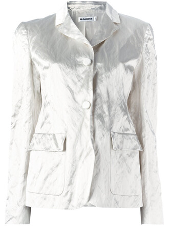 blazer metallic women white cotton jacket