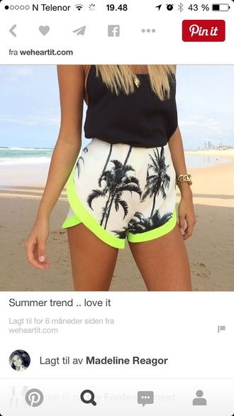 shorts white neon printed shorts palm tree print