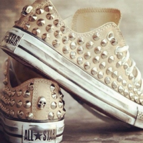 shoes all star spikes skull converse low tops