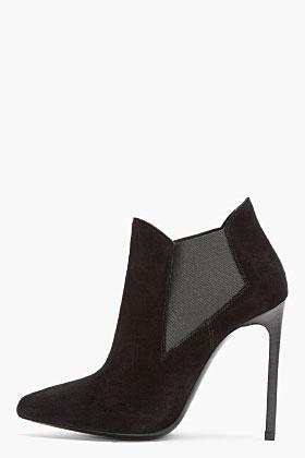 Saint Laurent Black Suede Pointed Paris Chelsea Boots for women | SSENSE