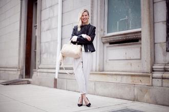 cocorosa blogger black jacket cropped pants handbag classy