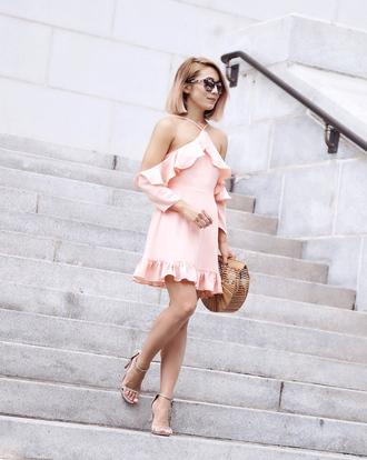 laminlouboutins blogger dress shoes sunglasses bag sandals pink dress cult gaia bag
