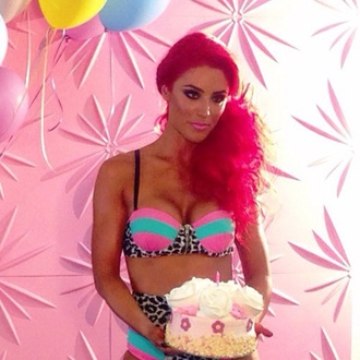 swimwear leopard print pink teal vintage colorblock bikini high waisted bikini