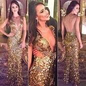 dress,long prom dress,backless prom dress,gold sequin prom dress,deep v-neck prom dress