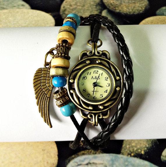 Vintage style leather  wrap watch bracelet wings by freeforme