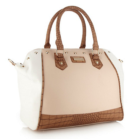 Lipsy Beige mock croc studded tote bag- at Debenhams.ie