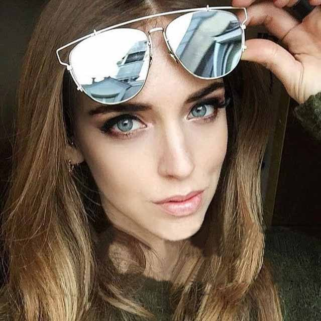 cb761a33797 Oversize thin top brow mirrored flat lens sunglasses