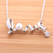 jewels,jewelry,love,love necklace,pearl,crystal,heart