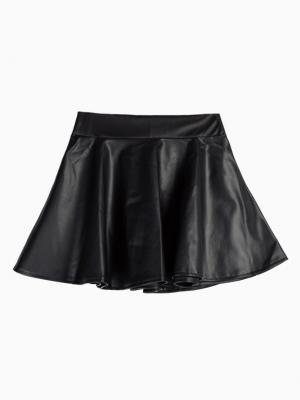 Black Skater Skirt In Leather Look | Choies
