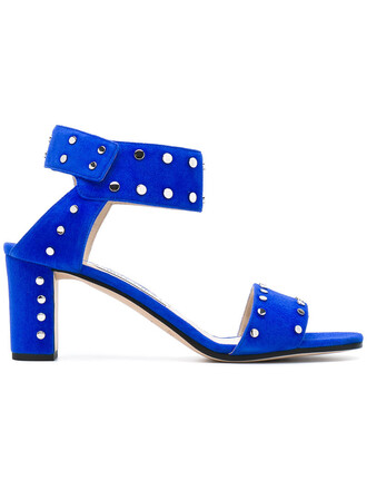 metal women sandals leather blue suede shoes