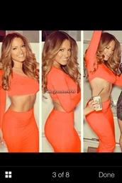 dress,orange,crop tops,two-piece,bodycon