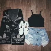 sweater,adidas,black,black and white,white,off-white,tumblr,tumblr outfit,fuzzy sweater,cardigan