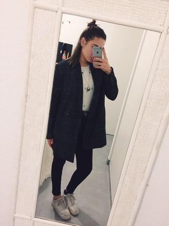 coat black coat tumblr outfit