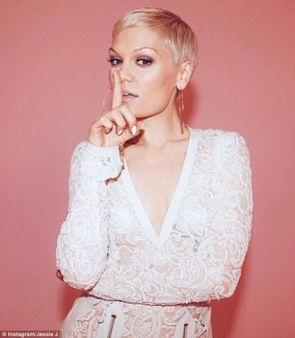 dress white lace pink jessie j zip short