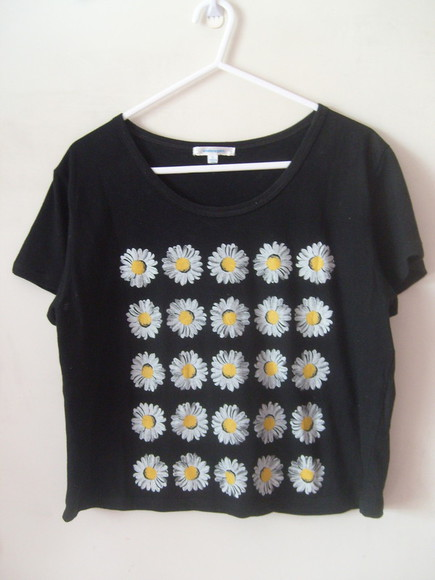 retro floral shirt sunflower sunflower shirt crop tops vintage flowers print pattern girly girl fashion style cute nice pretty look outfit outfit idea girly outfits tumblr