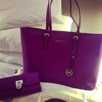 bag micheal kors bag michael kors purple wallet