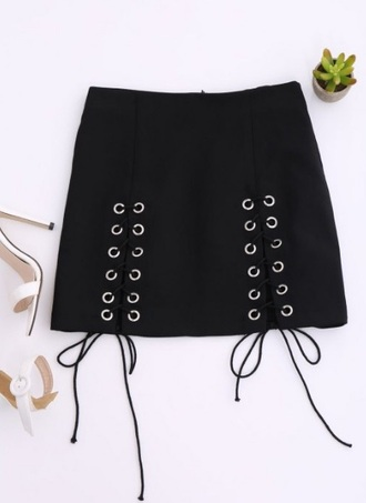 skirt girly black mini mini skirt lace up black skirt zaful