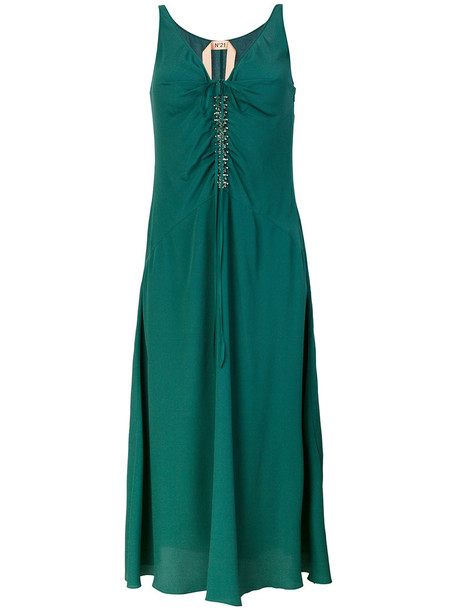 No21 dress women embellished silk green