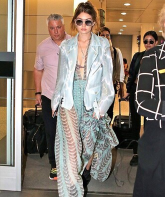 jacket gigi hadid beautiful blue blue dress trendy style maxi dress blue jacket perfecto dress celebrity style celebrity model sunglasses aviator sunglasses printed dress v neck dress plunge v neck boho dress