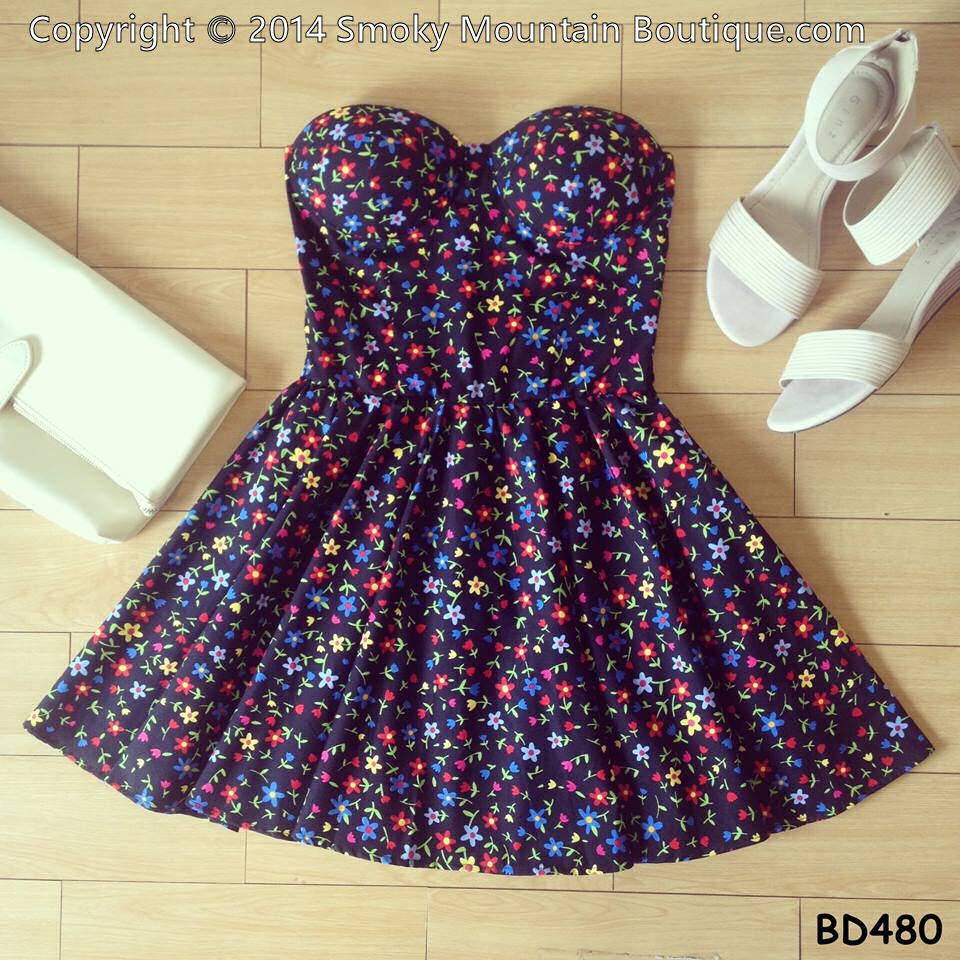 Wild flower floral retro bustier dress with adjustable straps