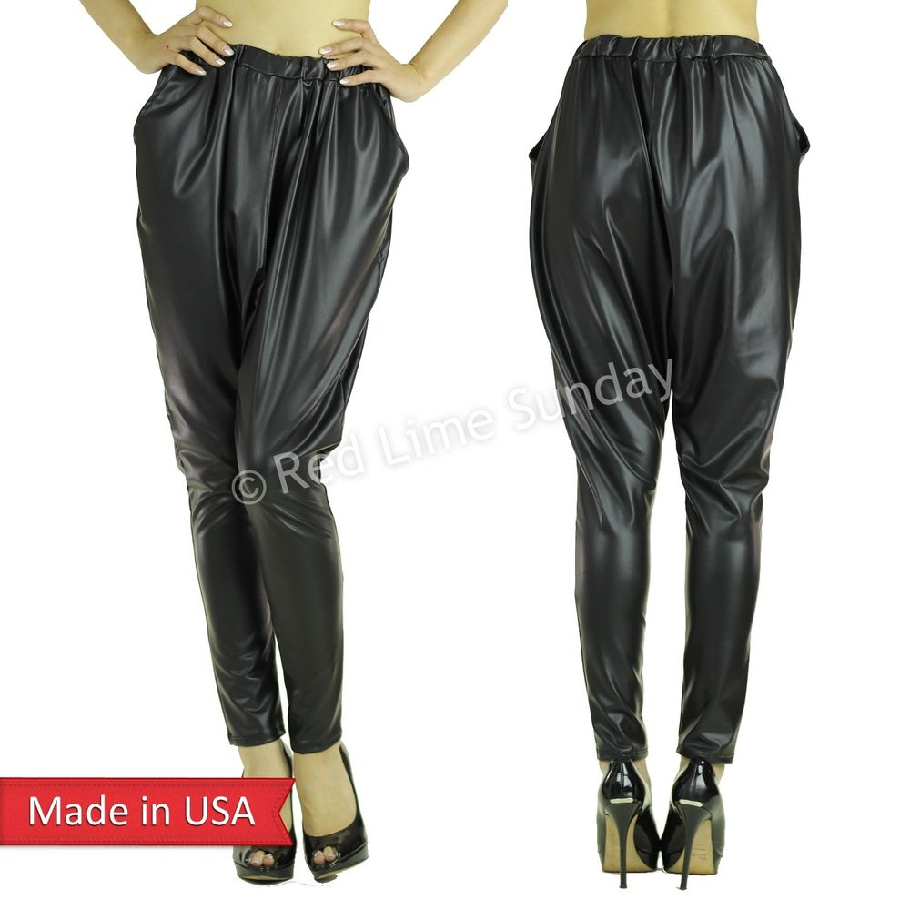 Trend Matte Black Faux Leather Low Crotch Jogger Harem Genie Pants w/ Pocket USA