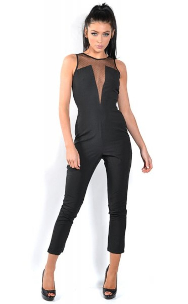 pants ustrendy ustrendy jumpsuit jumpsuit black jumpsuit mesh cutouts