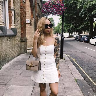 dress tumblr mini dress white dress summer dress summer outfits button up bag grey bag
