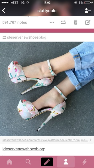 shoes high heels cute high heels floral high heels open toes open toe high heels fashion white shoes strappy shoes