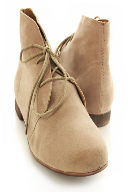 Taupe faux suede desert lace up bootie flats