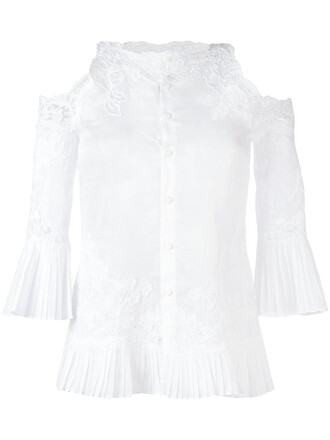 blouse women cold lace white cotton top