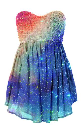 dress galaxy prom dress short dress rainbow glitter dress glitter colorful shoes galaxy prom dress galaxy dress