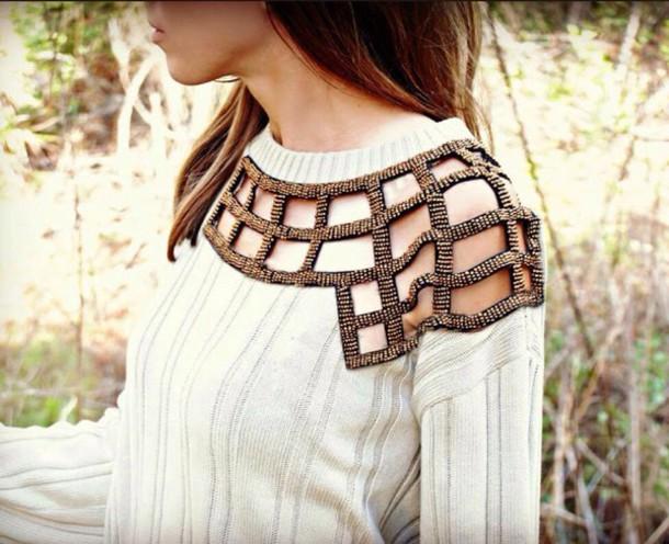 sweater white gold collar
