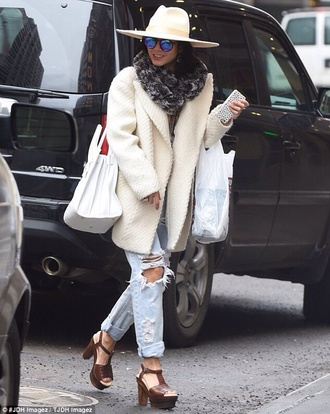 shoes vanessa hudgens jeans ripped jeans blue torn jeans coat