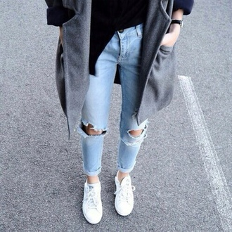 jeans ripped jeans light blue casual