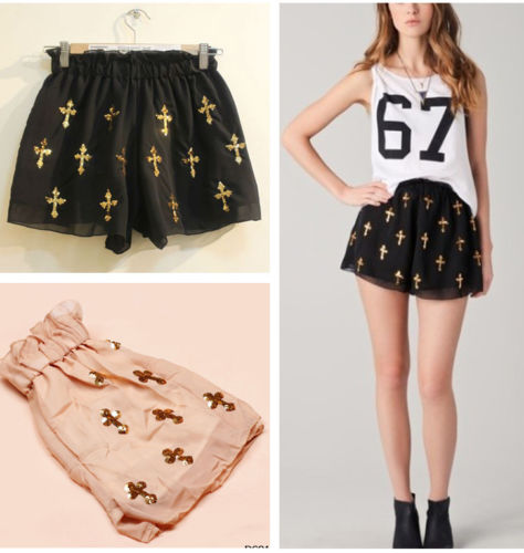 Sequins Charms Latin Cross Pattern Chiffon Skirt Divided Culottes Pants Shorts | eBay