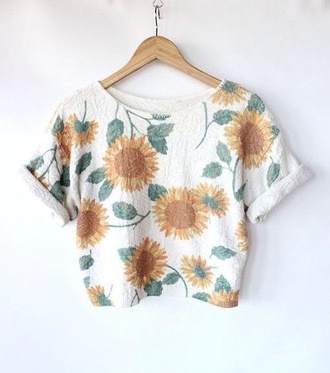 shirt white sunflower t-shirt oversized t-shirt t-shirt