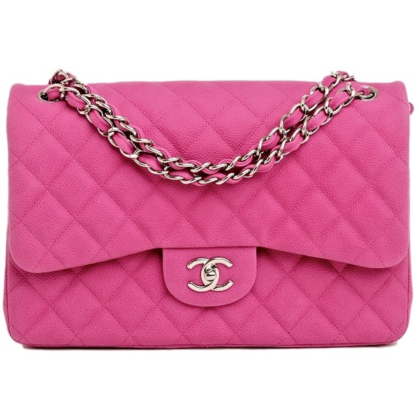 Chanel Hot Pink Matte Quilted Caviar Classic 2.55 Jumbo Doub... - Polyvore