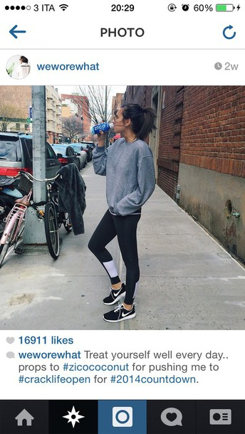 sweater weworewhat sportswear sporty grey pants adidas joggers run skinny drink girl instagram fashionblogger leggings
