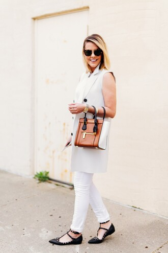 the courtney kerr blogger flats celine bag vest blazer white pants classy
