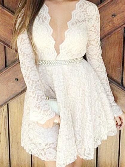 Nextshe vintage sexy white lace deep v neck long sleeve a line dress
