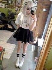 t-shirt,white,black,skirt,kawaii,pastel goth,kawaii grunge,shoes,b&w,black and white,graphic tee,totoro,shirt,white shirt,hat
