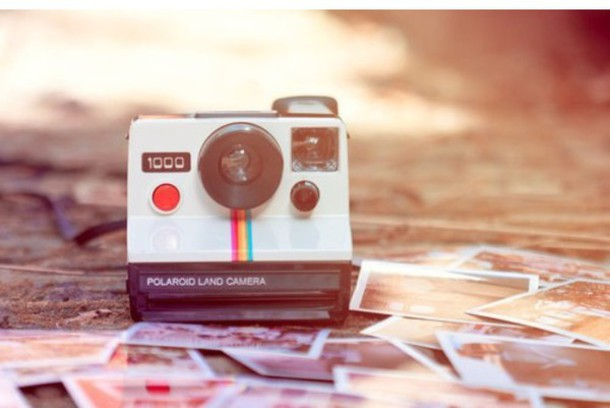 home accessory polariod camera white rainbow photography hipster