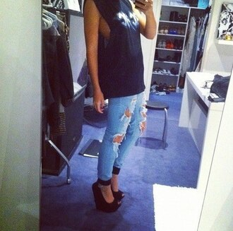 shoes high heels heels black wedges wedges jeans black top ripped jeans tank top blouse